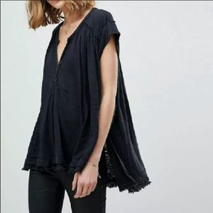 FREE PEOPLE Aster Frayed Hem V-Neck Henley Top Sm